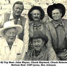 CHISUM (1970) - Top Row:  John Wayne - stuntman Chuck Hayward - stuntman Chuck Roberson.  Bottom  Row:  stunt coordinator Cliff Lyons & actor Ben Johnson on location in Durango, Mexico.