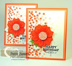 Dotty Angles polka dot stamp from Stampin' Up! makes a fun confetti background for any card! Beautiful bunch flower punched with Fun Flower punch embellish this quick and easy birthday card by Patty Bennett #stampinup #birthdaycard #dottyangles #beautiful bunch #pattystamps