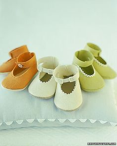 Gifts for Baby.....Felt Baby Shoes    Cover up your baby's precious toes with a pair of soft, snug, hand-sewn booties.