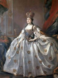Empress Catherine the Great of Rrussia wearing the diamond coronation crown, the Great Imperial Crown of Russia