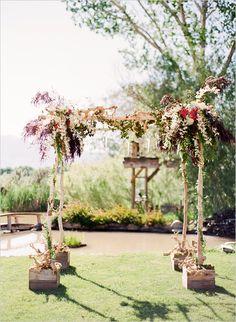 Classic, romantic, rustic wedding. White birch, hop, jasmine vine, burgundy foliage. It is pretty amazing. Venue: Sierra Nevada Mountain ranges. Hand-Picked Vendors KT Merry Photography.