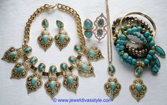 JDS - MARAKESH JEWELLERY SET (JEWEL DIVAS bracelet stack & pendant necklace) - http://jeweldivasstyle.com/designer-inspired-marrakesh-necklace-and-earring-set/