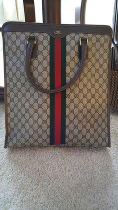 96f72381a8e3 Authentic Vintage Gucci Shopper Tote Handbag with Sherry Stripe
