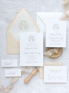 Custom wedding monogram | Illustrated monogram | Vintage monogram | Traditional wedding invitation | Custom wedding invitations by Little Fox Paperie | Chicago, Illinois | Gracie Nunez