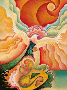 Sacred Feminine Artwork from Mara Friedman Image Yoga, Spiritual Paintings, Sacred Feminine, Goddess Art, Visionary Art, Psychedelic Art, Art Inspo, Fantasy Art, Mandala