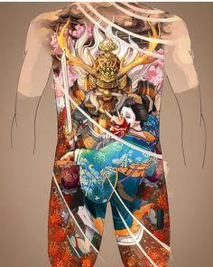 Japanese Warrior Tattoo, Japanese Back Tattoo, Japanese Dragon Tattoos, Japanese Tattoo Designs, Full Back Tattoos, Full Body Tattoo, Body Art Tattoos, Hand Tattoos, Japanese Hannya Mask