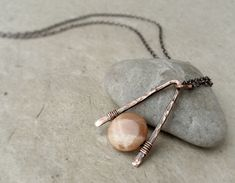 Sunstone Necklace, Good Fortune & Luck Stone Pendant, Solar Plexus / Sacral Chakra, Minimalist Simple, Hammered Copper Sterling Silver Gold by JustynaSart on Etsy https://www.etsy.com/listing/270982876/sunstone-necklace-good-fortune-luck