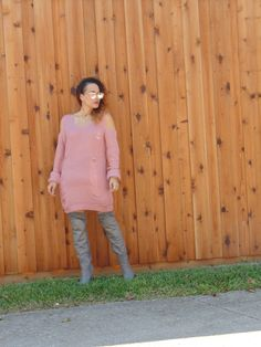 Cold Shoulder Distressed Sweater Dress by Make Me Chic