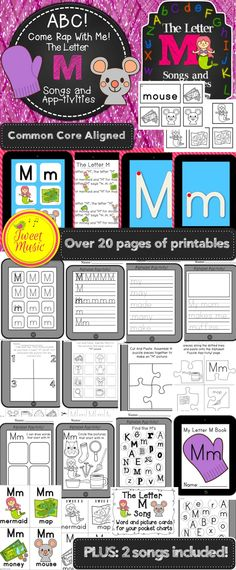 """2 MP3's and 21 pages of common core aligned Letter M printables (or app-tivities as I have affectionately named them for their iPad theme) are included! The """"Letter M song"""" and """"Letter M Rap"""" will engage students in acquiring their letter sounds together and create memorable learning experiences. In the """"Letter M"""" rap there are phrases that allow the students to mimic the letter sound in unison, reinforcing the M sound in a fun way! Perfect for LETTER OF THE WEEK. $"""