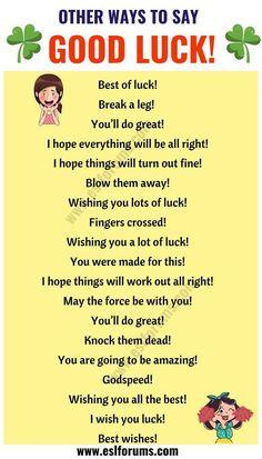 Learn English vocabulary: good luck in English! English Sentences, English Idioms, English Phrases, Learn English Words, English Lessons, English Learning Spoken, Teaching English Grammar, English Writing Skills, English Language Learning