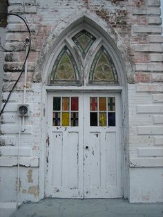 Church door, Key West, Florida - <3 the height of the stained glass windows - would love to have words in 'em - a favourite verse or something... cool.