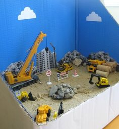 Site Diorama Construction site small world for kids. Can I play?Construction site small world for kids. Can I play? Toddler Activities, Activities For Kids, Diy For Kids, Crafts For Kids, Mini Mundo, Sand Play, Construction Theme, Construction For Kids, Construction Business
