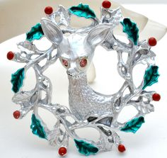Christmas Reindeer Holly Wreath Brooch Enamel Green Red Berry Vintage Pewter Pin #Unbranded #Christmas