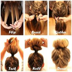 Braid Into Sock Bun.. So Simple! It is actually very simple, flip your head, begin a braid, then gather the rest of your hair together with the braid. Tuck and roll your hair then pin. Voila! That Simple! Pls tap for full view.