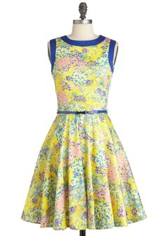 Monet Love Dress - Mid-length, Multi, Floral, Pockets, Party, Sleeveless, Belted, Fit & Flare, Multi, Yellow, Blue, Spring, Neon, Cocktail, Cotton, Daytime Party