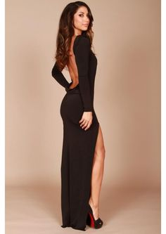 Black Backless Gown With Split, so sexy! Long Sleeve Backless Dress, Backless Cocktail Dress, Backless Gown, Backless Prom Dresses, Cocktail Dresses, Dress Long, Long Dress With Slit, Dress Prom, Tight Prom Dresses