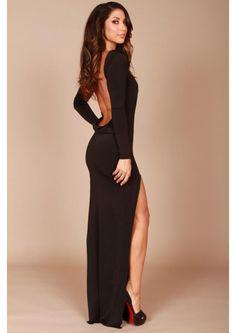 Long classic backless dress, black