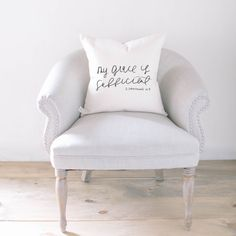 Throw Pillow - My Grace is Sufficient, calligraphy, home decor, wedding gift, Bible verse, housewarming gift, cushion cover, throw pillow by PCBHome on Etsy https://www.etsy.com/listing/253482881/throw-pillow-my-grace-is-sufficient