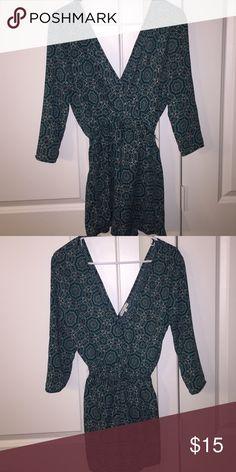 Patterned romper Teal and black pattern, NEVER WORN! Charlotte Russe Dresses