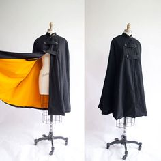 Vintage Nurses Cape / Black and Marigold / Wool Cape / Winter Fashion Vintage Military Uniforms, Nurse Cape, Vintage Dresses, Vintage Outfits, Vintage Nurse, Steampunk Costume, 1940s Fashion, Fashion Outfits, Womens Fashion