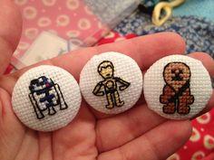 Set of 3 Cross Stitch Buttons via Etsy.