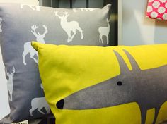 Scion fox and stag cushion