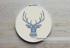 modern cross stitch pattern deer silhouette (big), reindeer, nordic folk, PDF,  ** instant download**