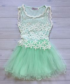 Look at this Chicaboo Mint Crochet A-Line Dress - Kids on #zulily today!