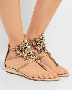 RENÉ CAOVILLA Faux pearl and crystal-embellished leather sandals | Buy ➜ https://shoespost.com/rene-caovilla-faux-pearl-crystal-embellished-leather-sandals/