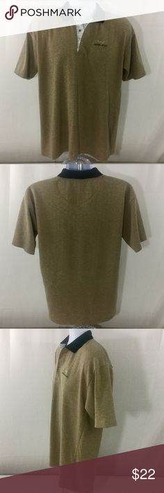 """Giorgio Armani Men's Polo Shirt Color Tan EUC Excellent used condition. Only flaws found are that size/care tag and top collar button are missing (see pics). Presumed to be a size large based on measurements below (make sure you check them out!). Color tan with black. Short sleeves. Emporio Armani embroidered logotype on chest. Approx. laying flat measurements: armpit to armpit 22"""", sleeves 9"""", length 28"""". Emporio Armani Shirts Polos"""