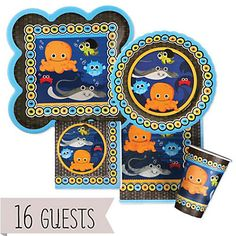 Under The Sea Critters - Baby Shower Tableware Bundle for 16 Guests