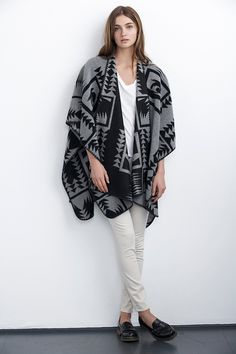Velvet | Cami Patterned Cape in Grey and Black | Available Instore and Online at Cocaranti.com
