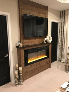 50 creative modern tv wall decor idea for living room design 5 - Home Decor Interior House, Wall Mounted Fireplace, Fireplace Built Ins, Home, Home Fireplace, New Homes, Fireplace, Living Room Designs, Diy Fireplace