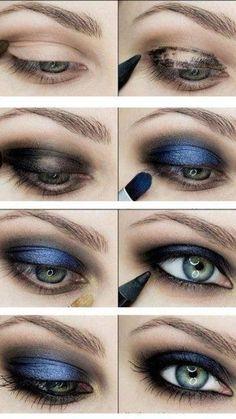 """Hier mal wieder ein Augen Make-up in der absoluten Trendfarbe """"blau"""". Ich wünsche Euch einen schönen Wochenstart und viel Spaß beim nachschminken."""