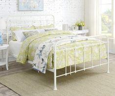 Girls Queen Bedding, Teen Bedding Sets, Queen Beds, White Iron Beds, White Metal Bed, Metal Bed Frame Queen, Queen Bed Frames, Wrought Iron Bed Frames, Metal Bed Frames
