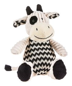 Another great find on #zulily! Black & White Chevron Cow Plush Toy by Blossoms & Buds #zulilyfinds