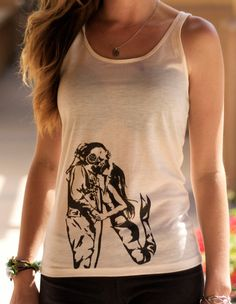 Mermaid Kissing Deep Sea Diver Tank Top// Ladies Style // Screenprint Graphic Fashion Tank Top by SargentIllustration, $30.00