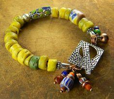 Vintage African Hebron Bracelet Krobo Yellow Trade by ChrysalisToo