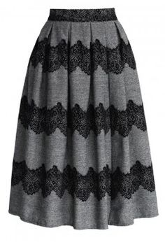 Lace Trimmed Pleated Twill Midi Skirt - Bottoms - Retro, Indie and Unique Fashion