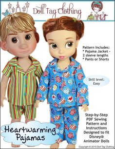 Doll Tag Clothing Heartwarming Pajamas Doll Clothes Pattern Disney Animator Dolls | Pixie Faire