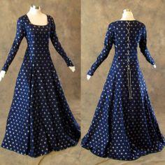 Medieval Renaissance Gown Navy Silver Fleur de Lis Dress