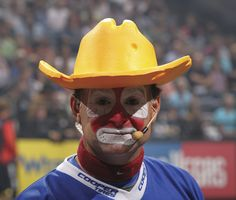 Big Sky Journal - Rasmussen's face paint hints at his long careeras a professional rodeo clown prior to joining PBR.Photo by Andy Watson (Bullstockmedia.com)