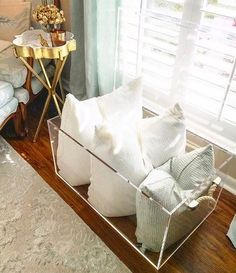 Micaela chose our acrylic trunk for her client's throw pillows in the master bedroom Need other ideas for using it? Store your books, decorative accessories, or blankets. #wisteriastyle