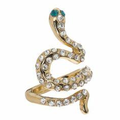 Jennifer Lopez Gold Tone Simulated Crystal Snake Ring
