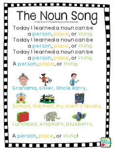 Teach students to identify nouns with this fun song, perfect for learning parts of speech in the elementary classroom.the noun song Grammar Activities, Teaching Grammar, Teaching Language Arts, Teaching Writing, Teaching English, Learn English, Listening Activities, Vocabulary Games, Teaching Spanish