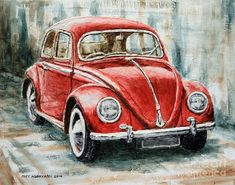 Fine Art America -- Favorites Title 1960 Volkswagen Beetle 2 Artist Joey Agbayani Medium Painting - Acrylic On Canvas Use the Tabulation of Your Photo. Car Painting, House Painting, Painting Canvas, Painting Tools, Beetle Car, Beetle Juice, Vw Vintage, Car Drawings, Watercolor Art