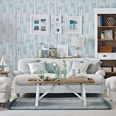 Coastal living room with wood-effect wallpaper (which I don't actually like), but nice colour scheme