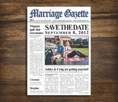 Newspaper SavetheDate or Engagement by PurpleSapphireDesign, $2.00