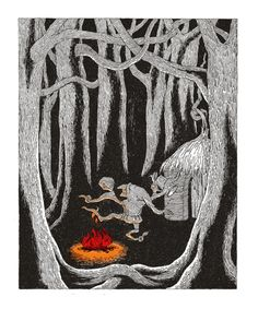 Illustration, by Edward Gorey, of Rumpelstiltskin dancing around the fire, singing the song that gives him away.