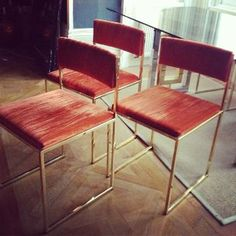 8 Italian brass dining chairs attr Willy Rizzo from www.thevintagetrader.co.uk